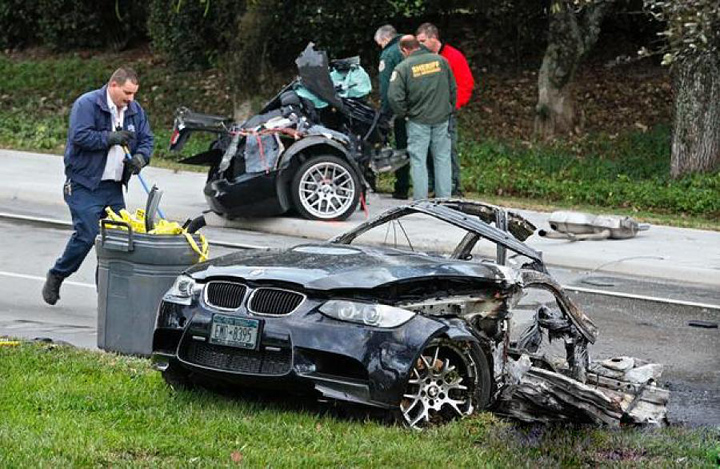 Car: 2010 BMW M3 Description: Driving at a high rate of speed, owner lost control and struck two trees, splitting the car in half and causing the front half to catch fire.  The accident occured at 3:30 in the morning and the driver was killed. Location: Palm Beach, FL