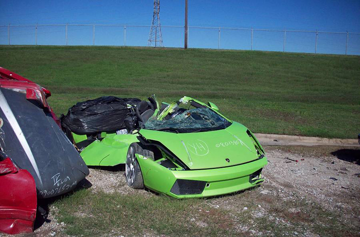 Car: 2008 Lamborghini Gallardo Description: Circumstances of this horrible crash are still not known.  The driver was  in a comma when extracted from the scene.  The Lamborghini was split completely in half. Location: Fort Worth, TX